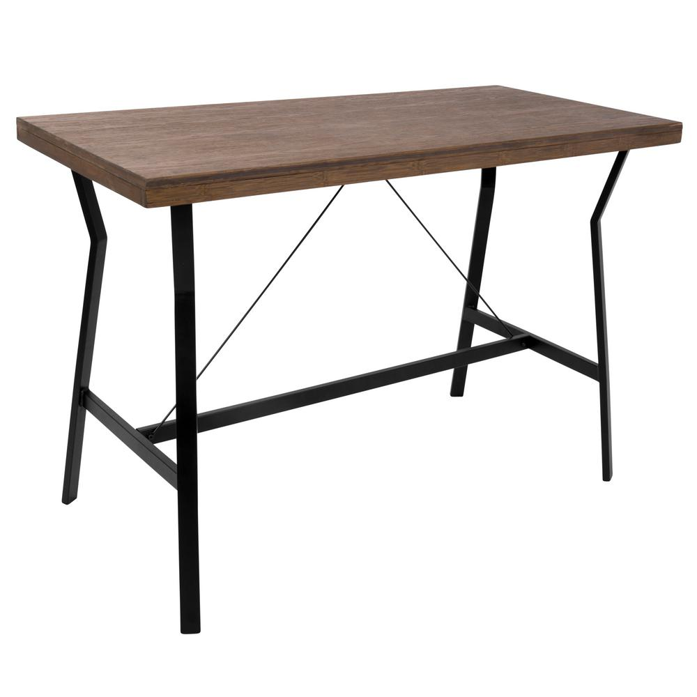 Lumisource wishbone black and walnut counter height dining table