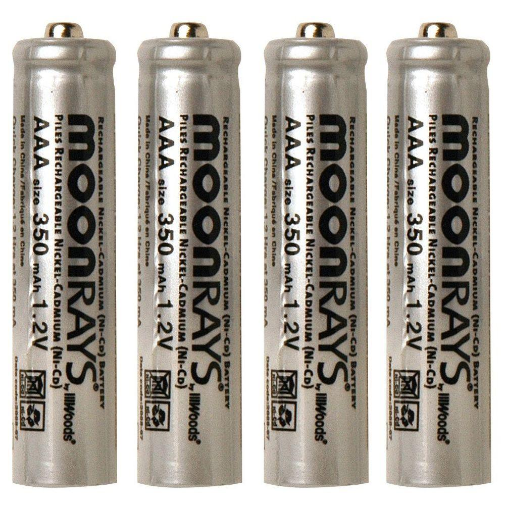 Moonrays Rechargeable 350 mAh NiCd AAA Batteries for Solar-Powered