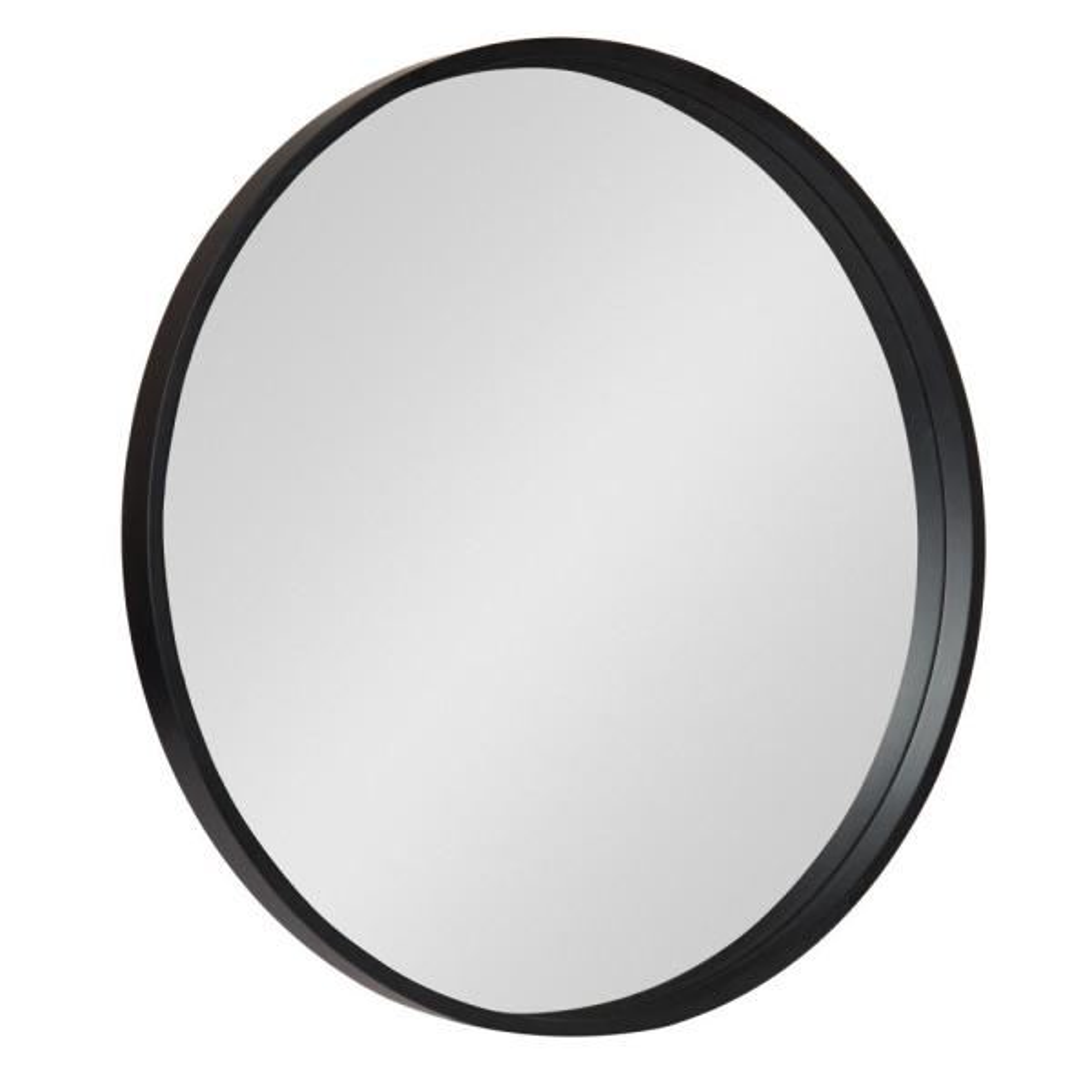 Medium Round Black Contemporary Mirror (25.59 in. H x 25.59 in. W)