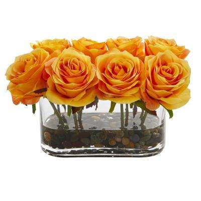 5.5 in. High Orange Roses Blooming Roses in Glass Vase Artificial Arrangement