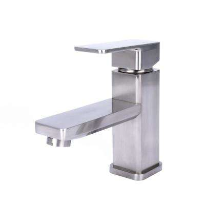 Square Single Hole Single-Handle Bathroom Faucet in Brushed Nickel