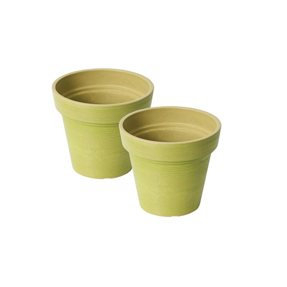 Valencia 6 in. Round Banded Spun Bright Green Polystone Planter (2-Pack)