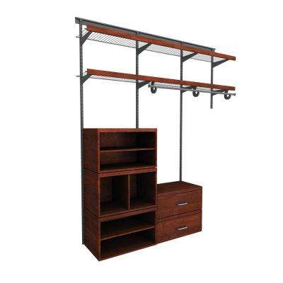 Elite 96 in. H x 72 in. W x 14.1 in. D 35-Piece Wire and Laminate Closet System in Dark Cherry
