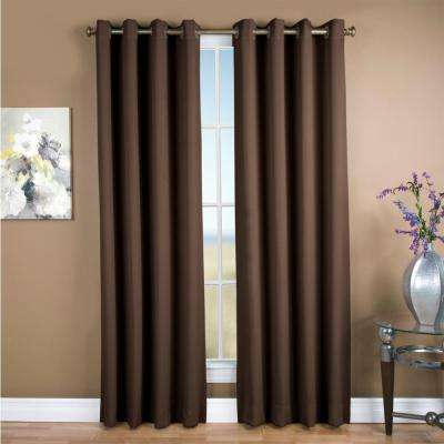 Blackout Ultimate blackout Polyester Grommet Curtain Panel 56 in. W x 96 in. L Espresso