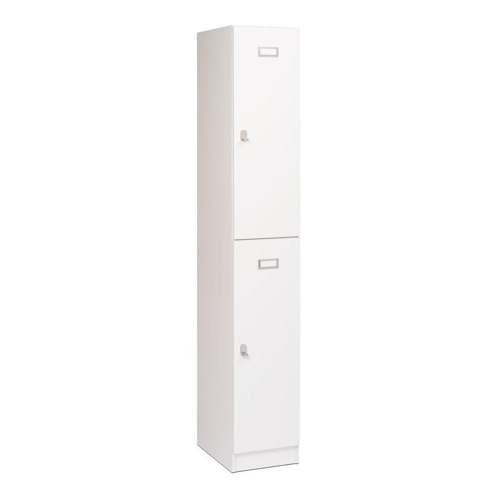 Prepac Elite 2-Tier Particle Board Locker in White, White...