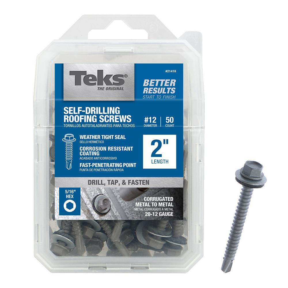 Teks #12 x 2 in. Metallic Steel Hex Drill Point Roofing Screws (50-Pack)