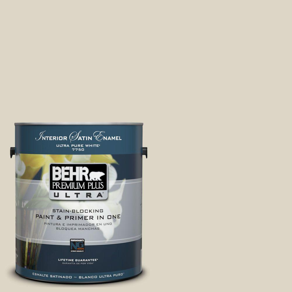 BEHR Premium Plus Ultra 1-Gal. #UL190-15 Stonewashed Interior Satin Enamel Paint