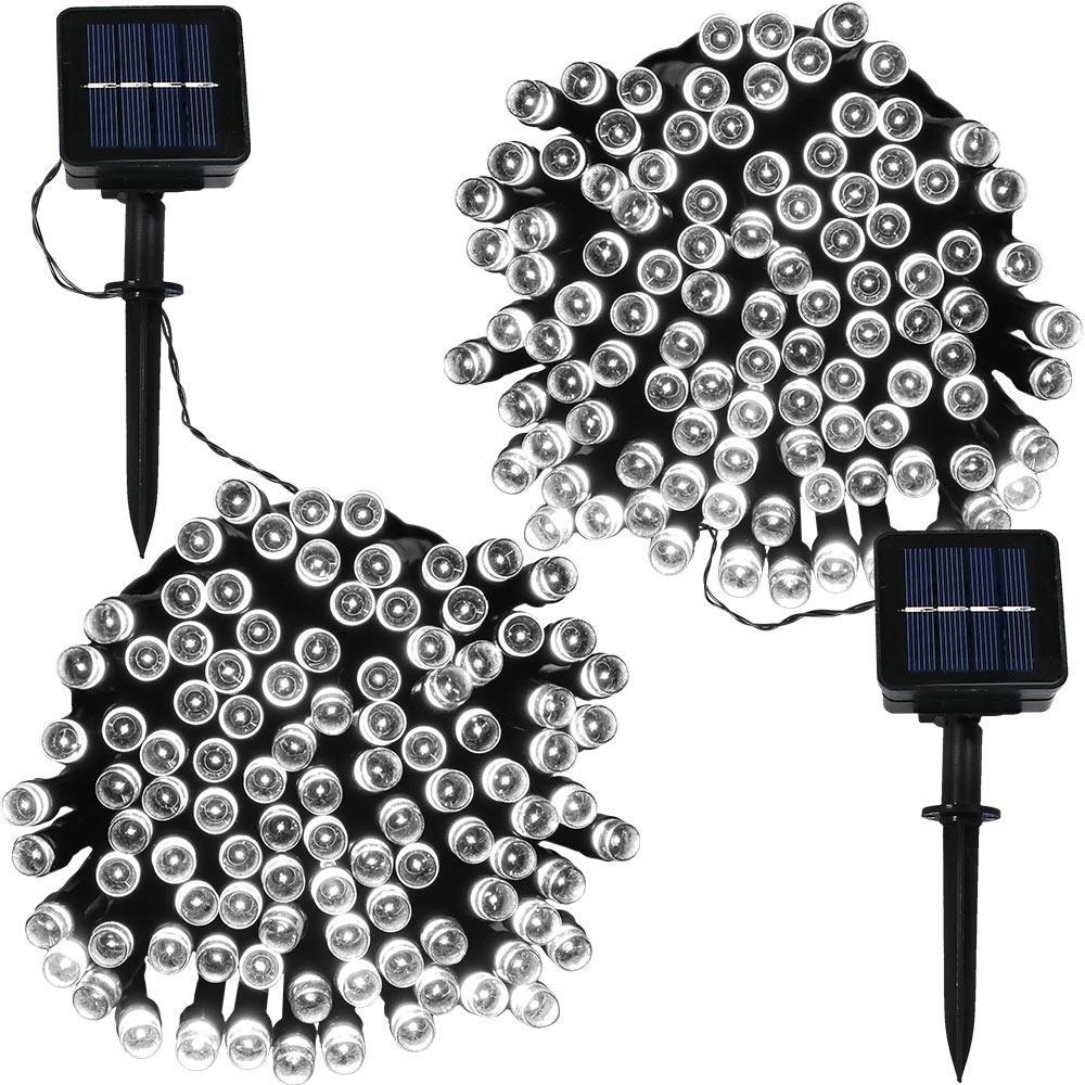 100-Light Outdoor 34 ft. Solar Round Mini LED String Light Set in White (2-Pack)