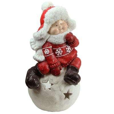 19.25 in. Christmas Morning Boy on a Snowball Christmas Tealight Candle Holder
