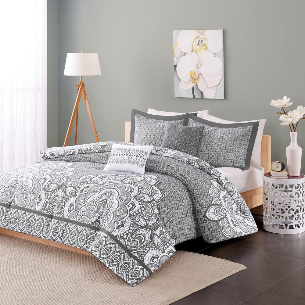 Simone 5-Piece Grey Full/Queen Print Comforter Set