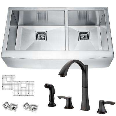 Elysian Farmhouse Stainless Steel 33 in. 60/40 Double Bowl Kitchen Sink with Faucet in Oil Rubbed Bronze