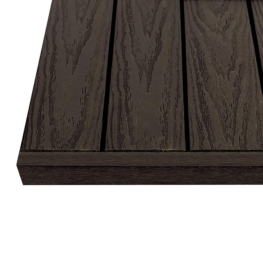1/6 ft. x 1 ft. Spanish Walnut Quick Deck Composite Deck Tile Straight End Fascia (4-Piece/Box)