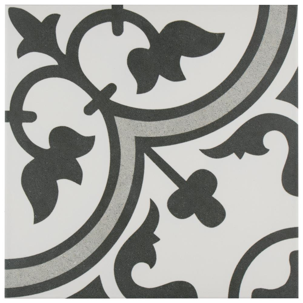 Merola Tile Arte Grey Encaustic 9-3/4 in. x 9-3/4 in. Porcelain Floor and Wall Tile (10.76 sq. ft. / case)