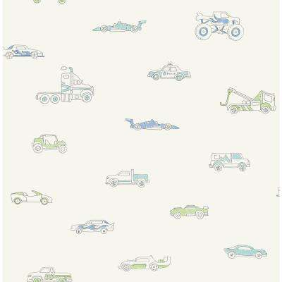 Kids Traffic Jam Blue and Green Wallpaper