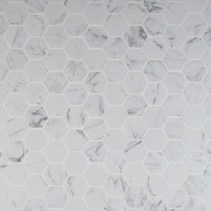Carrara Hexagon 12 in. x 12 in. x 10 mm Matte Porcelain Mesh-Mounted Mosaic Tile (8 sq. ft. / case)