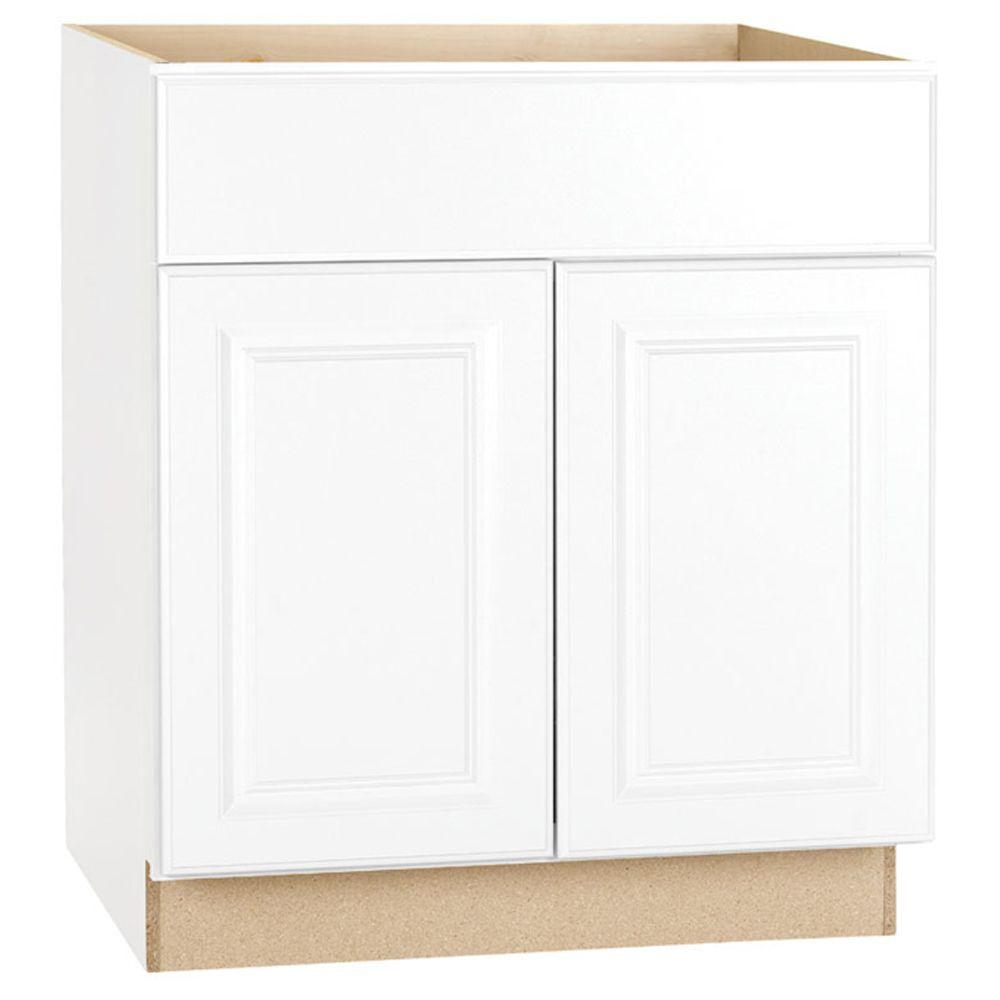 Hampton Bay Hampton Assembled 30x34.5x24 In. Base Kitchen Cabinet With  Ball Bearing Drawer Glides In Satin White KB30 SW   The Home Depot