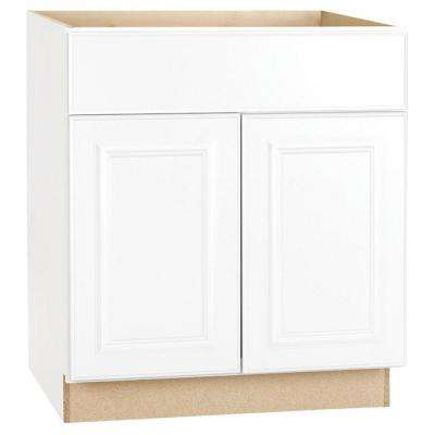 Hampton Assembled 30x34.5x24 in. Base Kitchen Cabinet with Ball-Bearing Drawer Glides in Satin White