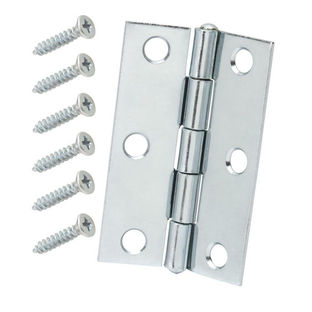 Everbilt 3 in. Zinc-Plated Narrow Utility Hinge Non-Removable Pin (2 per Pack)