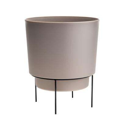 Hopson Small 6 in. Pebble Stone Planter with Metal Black Stand
