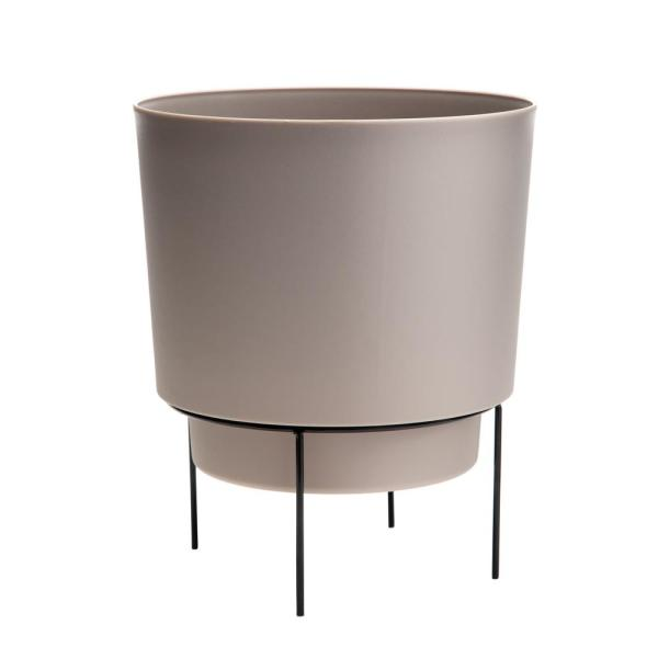 Hopson Small 6 in. Pebble Stone Plastic Planter with Metal Black Stand