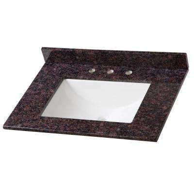31 in. Stone Effects Vanity Top in Tan Brown with White Basin