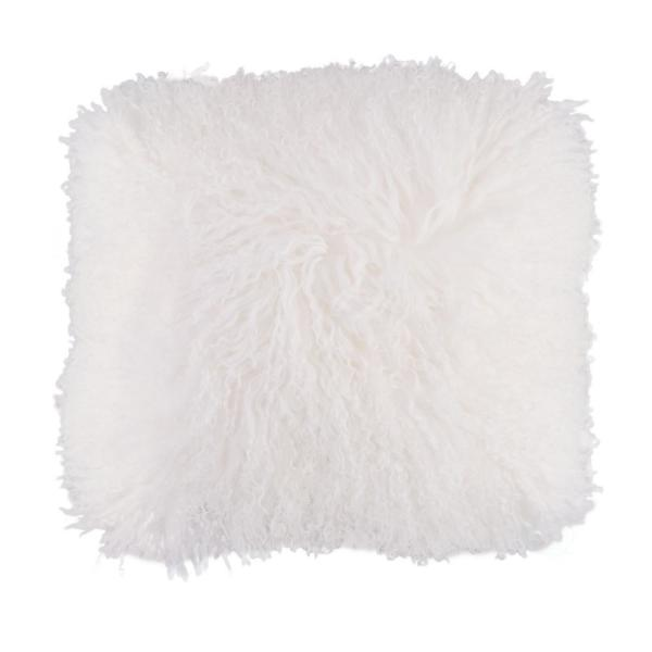 DEERLUX Genuine Mongolian Lamb Fur Sheepskin White 16 in. Square Pillow Cover with Cushion