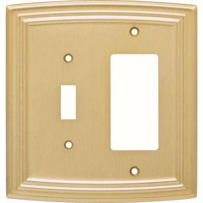 Emery Classical Single Switch and Decorator Wall Plate, Brushed Brass