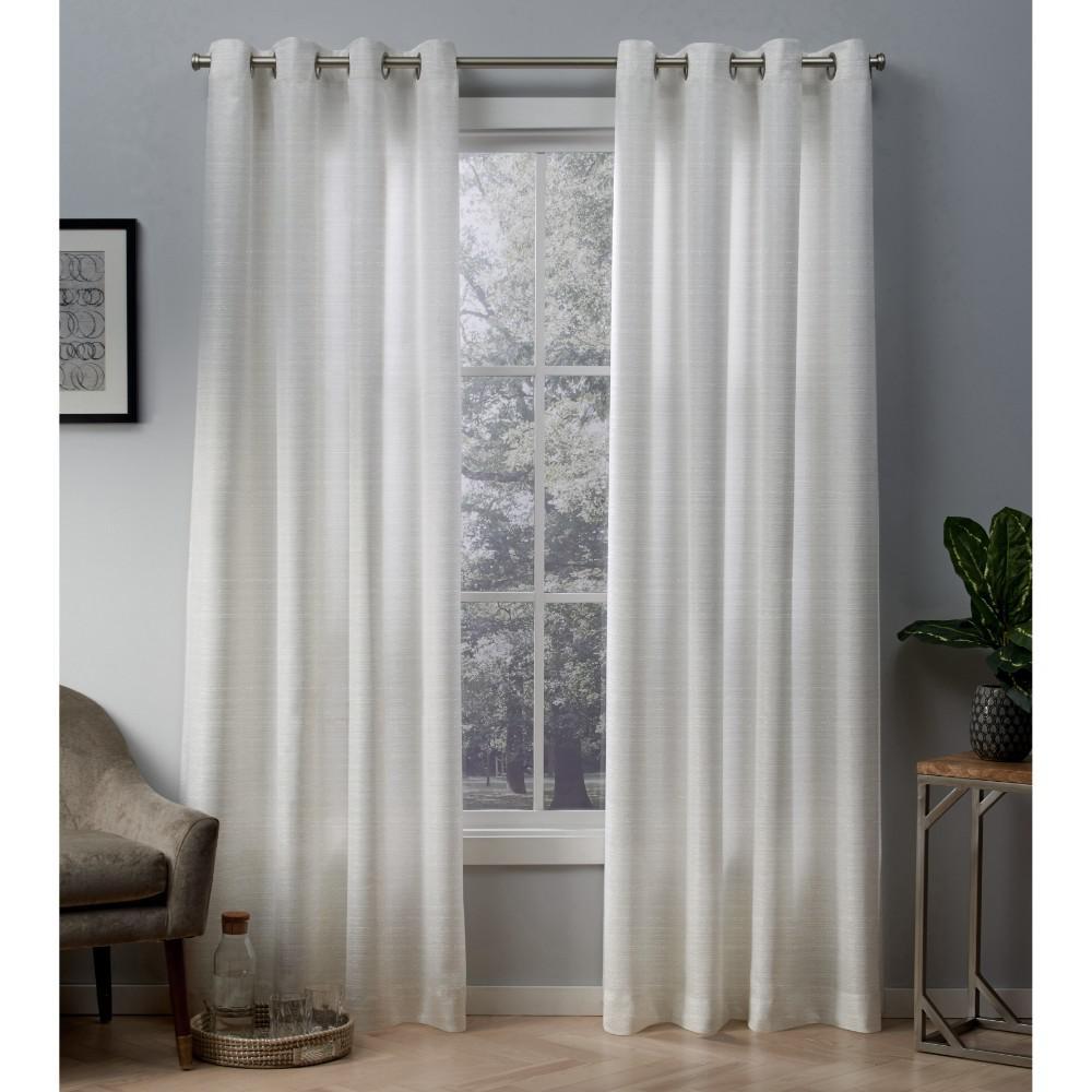 Whitby 54 in. W x 108 in. L Metallic Slub Grommet Top Curtain Panel in Winter White, Gold (2 Panels)