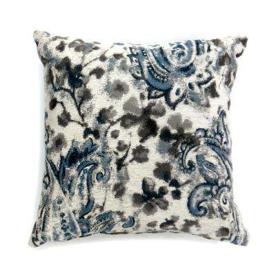 Ria 22 in. Contemporary Standard Throw Pillow in Grey and Blue