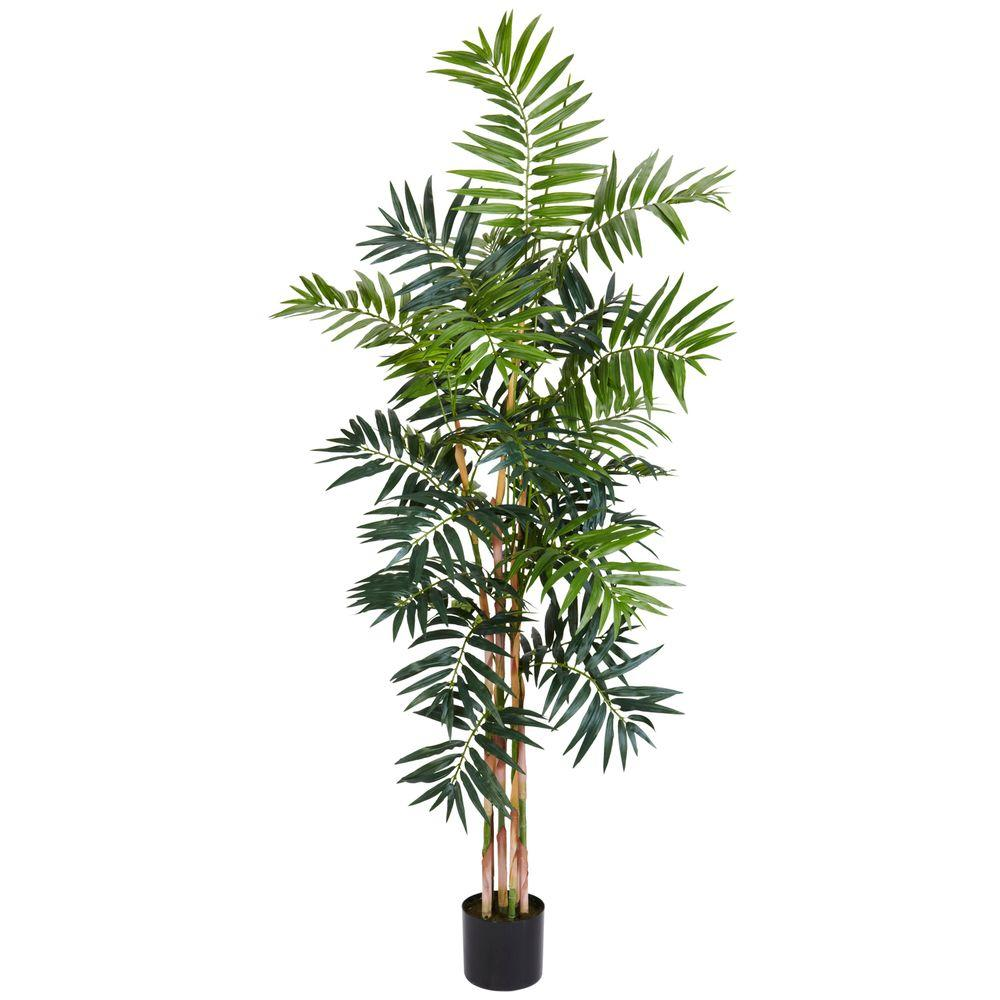 Nearly Natural 5 ft. Green Bamboo Palm Silk Tree