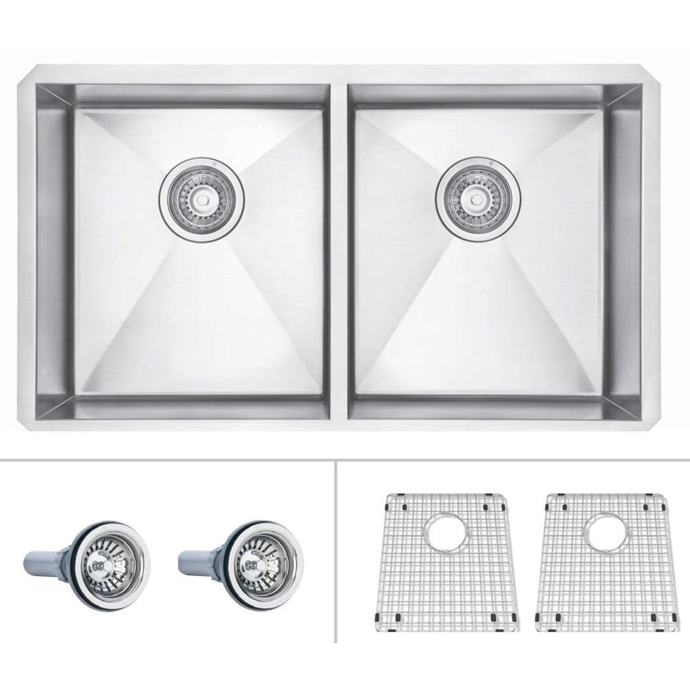 ECOSINKS Acero Platinum Combo Undermount Stainless Steel 31x18 x10 0-Hole Double Basin Kitchen Sink-DISCONTINUED