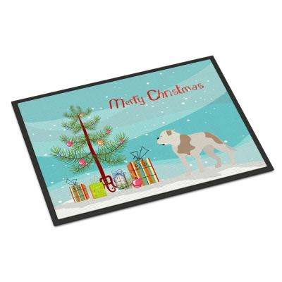 18 in. x 27 in. Indoor/Outdoor American Bulldog Christmas Door Mat