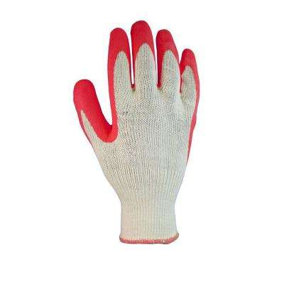 Coated Large Red Latex Dipped Glove (10-Pair)