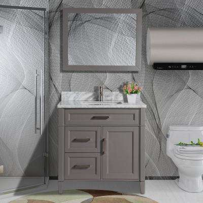 Savona 36 in. W x 22 in. D x 36 in. H Vanity in Grey with Single Basin Vanity Top in White and Grey Marble and Mirror