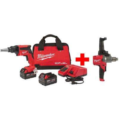 M18 FUEL 18-Volt Lithium-Ion Brushless Cordless Drywall Screw Gun Kit with Free M18 1/2 in. Mud Mixer