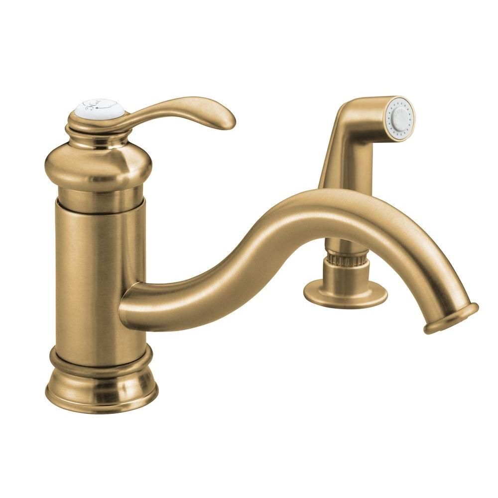 KOHLER Fairfax Low-Arc Single-Handle Standard Kitchen Faucet with Side Spray in Vibrant Brushed Bronze