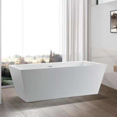 Tarbes 59 in. Acrylic Flatbottom Freestanding Bathtub in White