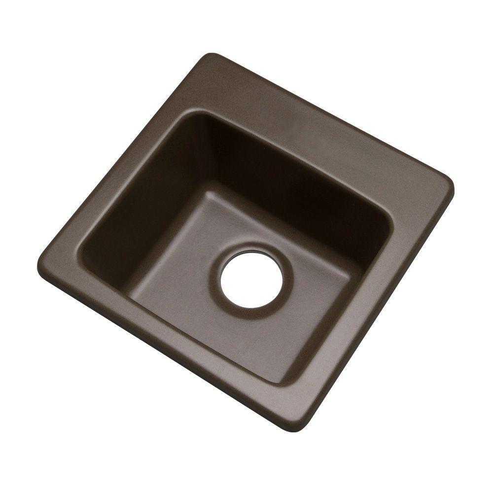 Westminster Drop-In Composite Granite 16 in. 0-Hole Single Bowl Bar Sink in Mocha