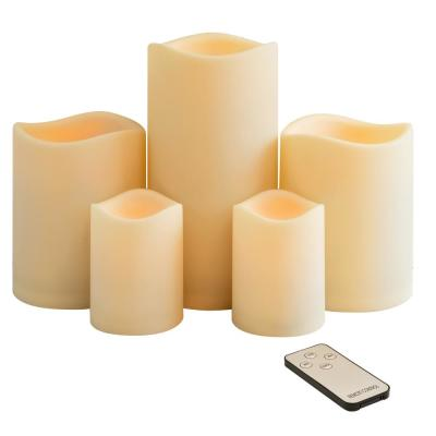 Battery Operated LED Assorted Resin Pillars with Remote Control (set of 5)