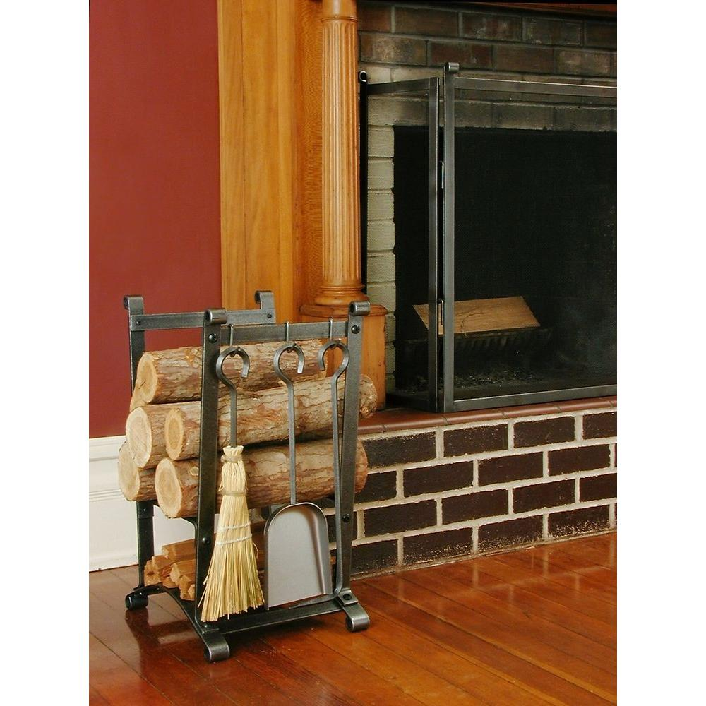 Compact Curved Log Rack with Fireplace Tools with Hammered Steel Finish