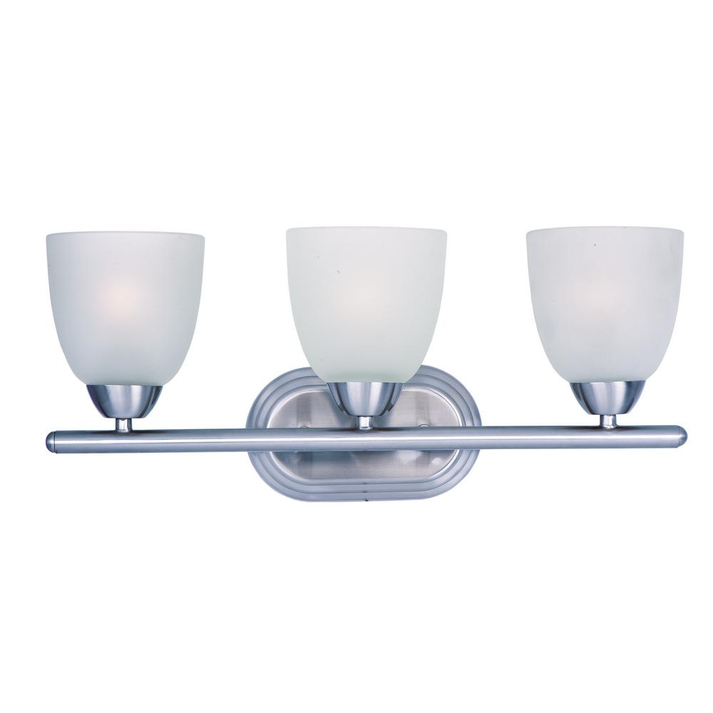 Axis 3-Light Polished Chrome Bath Light Vanity with Frosted Shade
