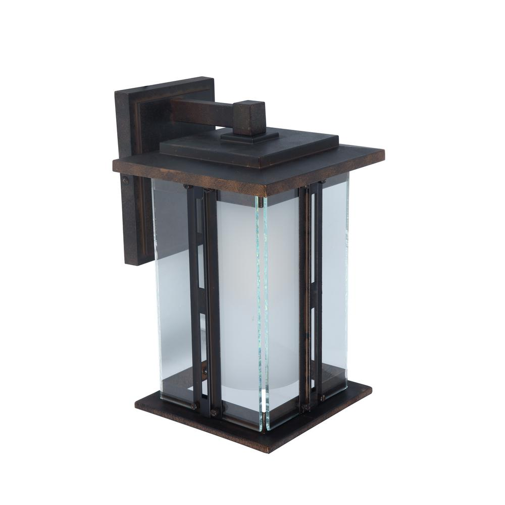 1-Light Bronze Outdoor Wall Mount Lantern