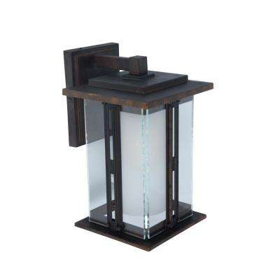 1-Light Bronze Outdoor Wall Lantern Sconce