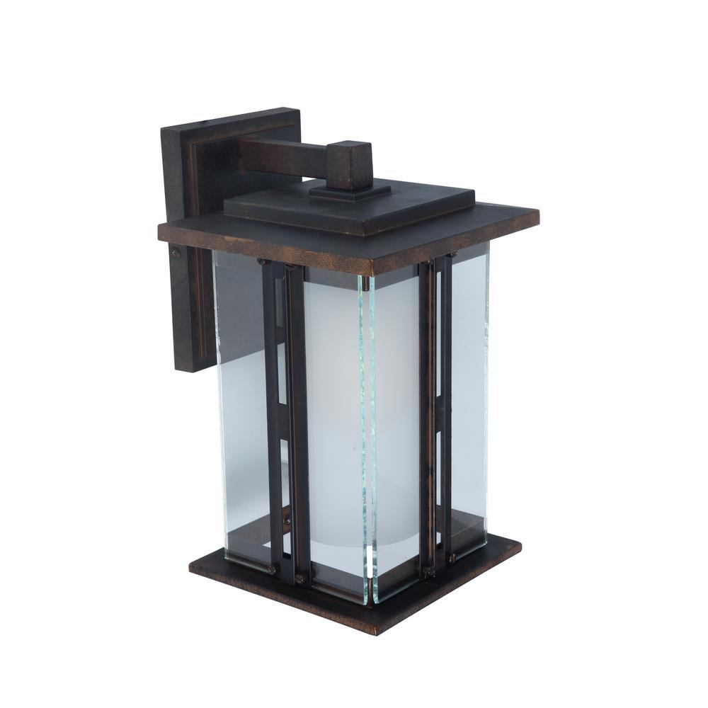 1-Light Bronze Outdoor Wall Lantern Sconce