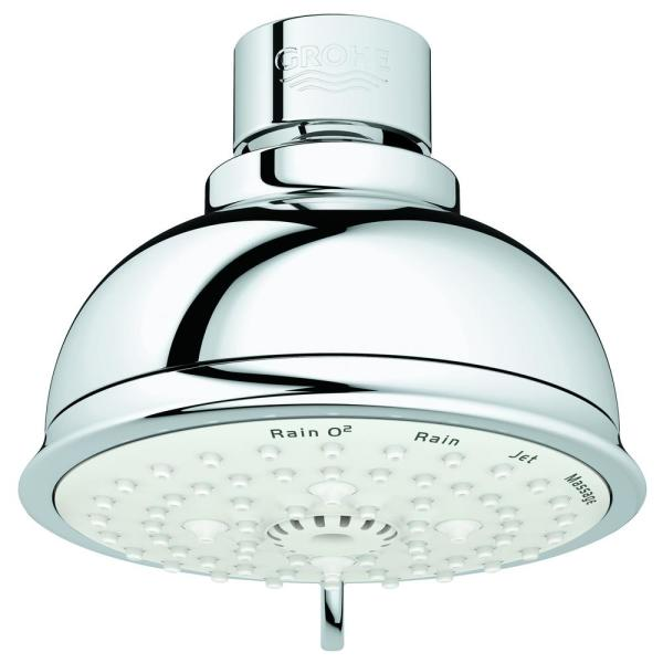 Grohe Tempesta 4 Spray 4 In Single Wall Mount Fixed Rain Shower Head In Chrome 27610001 The Home Depot