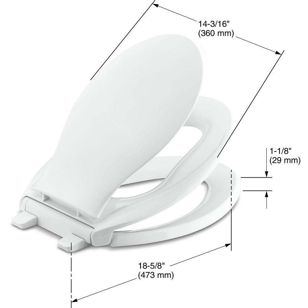 Peachy Kohler Transitions Quiet Close Elongated Closed Front Toilet Seat With Grip Tight Bumpers In White Forskolin Free Trial Chair Design Images Forskolin Free Trialorg