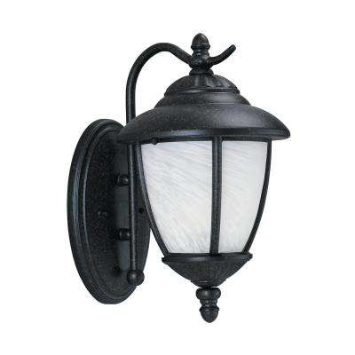 Yorktown 1-Light Medium Forged Iron Outdoor Wall Mount Lantern with LED Bulb