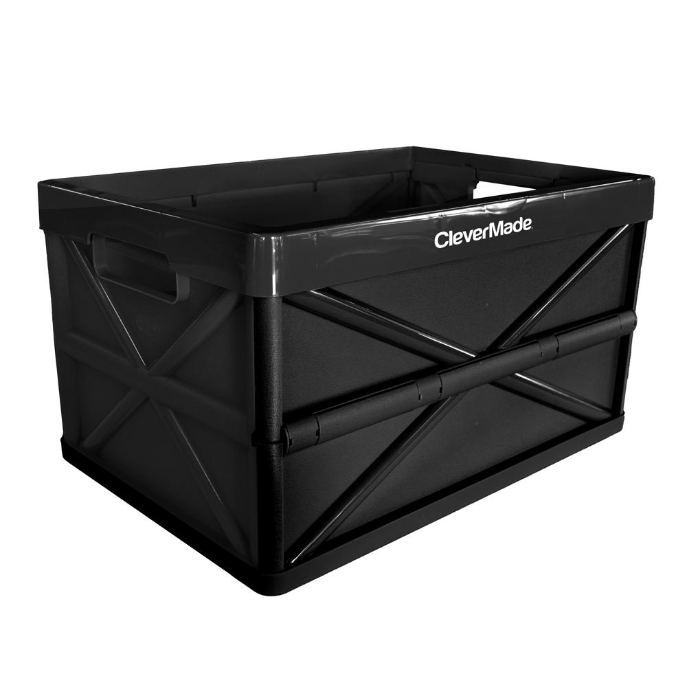 CleverMade CleverCrate Hercules 46L/48.6 qt. Plastic Collapsible Storage Box in Black
