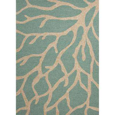 Coral Teal 8 ft. x 10 ft. Novelty Area Rug