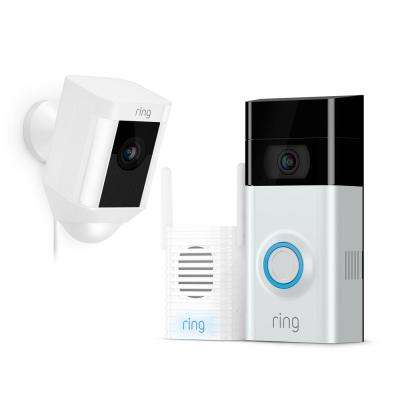 Wireless Video Doorbell 2 with Chime Pro and Spotlight Cam Wired White